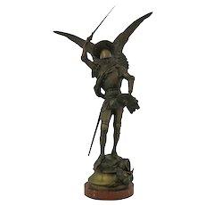 "Eugene Fremiet ""Saint Michael Slaying The Dragon"" Bronze Sculpture"