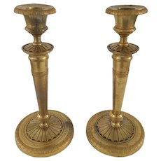 French Louis XVI Style Gilt Bronze Candlesticks 19th C.