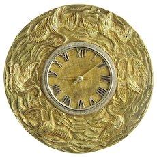 Large Italian 18K Gold Clock Pin Pendant with Swans