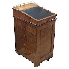 Early 19th C. English Regency Burled Walnut Davenport Desk