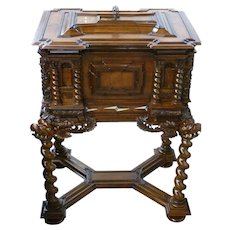 19th Century German Baroque Style Carved Walnut Jewel Chest