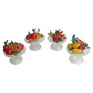 Set Of Four Italian Murano Glass Miniature Fruit And Compotes