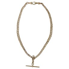 Victorian Solid 9Ct English Watch Chain Necklace