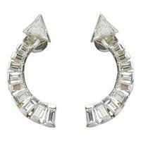 Vintage Platinum & Diamond Arrow Pierced Earrings
