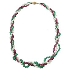 Emerald Cultured Pearl Ruby Triple Strand Necklace 14K Gold Clasp