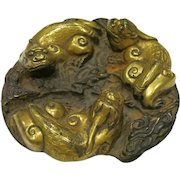 Chinese Patinated and Gilt Bronze Chilong Paperweight