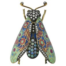 18K Gold Plique a Jour Diamond Opal Ruby Insect Brooch