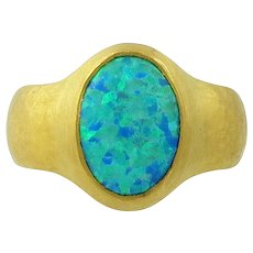 24K Gold Gurhan Black Opal Doublet Ring