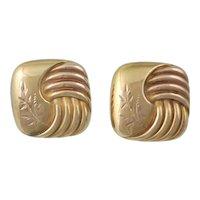 Victorian 14K Rose Gold Pierced Post Earrings