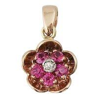 Retro 14K Rose Gold Ruby Diamond Flower Pendant