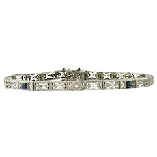 14K White Gold Art Deco Filigree Diamond Sapphire Bracelet