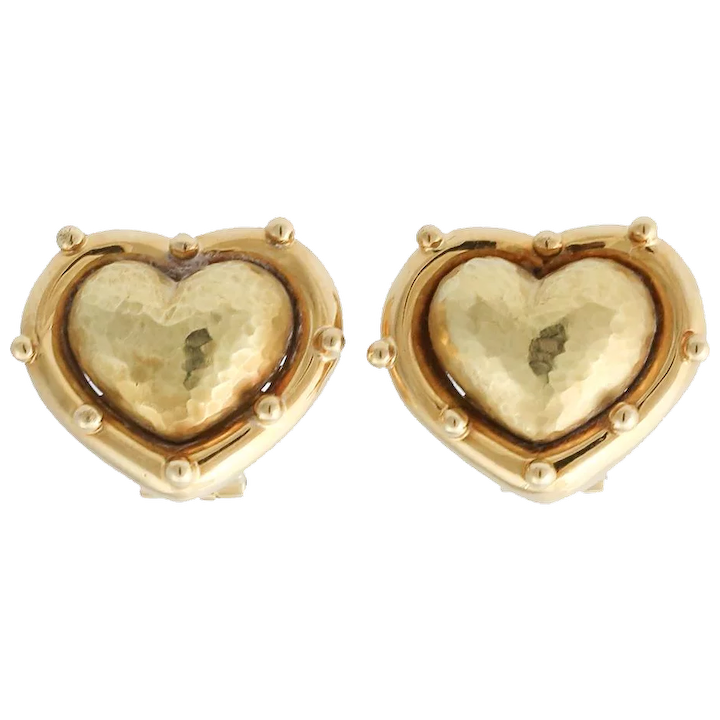 18e150670 Vintage Tiffany & Co. Paloma Picasso Hammered Heart Earrings : Acanthus  Antiques | Ruby Lane