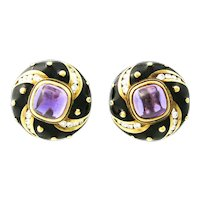 Mavito Enamel Amethyst Diamond Gold Earrings