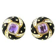 Mavito Enamel Amethyst Diamond Gold Earrings