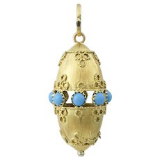 18K Gold Etruscan Revival Style Turquoise Charm Fob Pendant