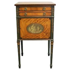 18th Century English George III Painted Satinwood Side Cabinet