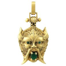 """Victorian 18K Gold And Emerald Figural Locket """"The Wind"""""""