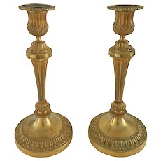 Pair French Gilt Bronze Louis XVI Style Candlesticks 19th C