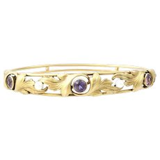 Art Nouveau 14K Gold Amethyst, Cultured Pearl Bangle Bracelet Alling & Co.