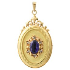 French Victorian 18K Gold Amethyst Diamond Locket Pendant