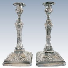 Pair English Sheffield Plate Candlesticks 19th Century