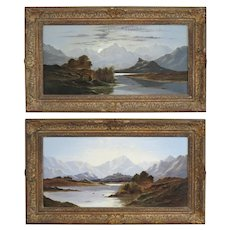 19th C. Pair of Scottish Landscape Oil on Canvas Paintings