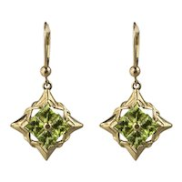 14K Gold Peridot Dangling Pierced Earrings