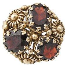 Vintage Etruscan Style 14K Gold Garnet Cocktail Ring