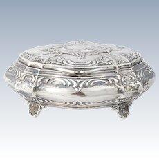 Antique Peruvian Sterling Silver Jewelry Box