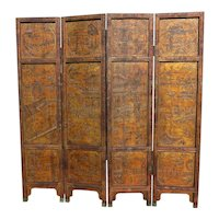 19th C. Chinese 4 Panel Gilt Lacquer Pictorial Screen