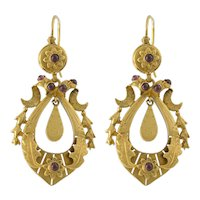 14K Gold Almondine Garnet Victorian Style Pierced Earrings