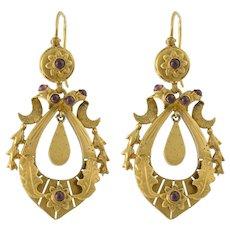 14K Gold Almondine Garnet Victorian Style Pierced Earrings