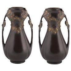 Pair Of Bronze French Art Nouveau Vases Leon Kann