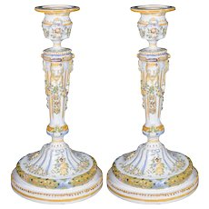 Pair 19th Century French Faience Candlesticks