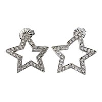 Platinum Diamond Star Pierced Post Earrings