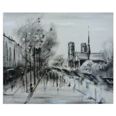 French Painting Oil on Canvas, Street Scene in Snow