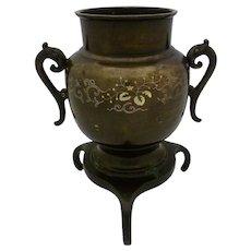 Japanese Meiji Period Silver Inlaid Bronze Censer