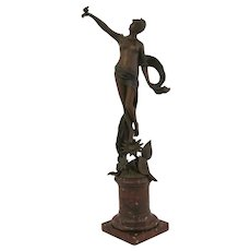 French Bronze Fairy Holding a Butterfly, Franz Rosse