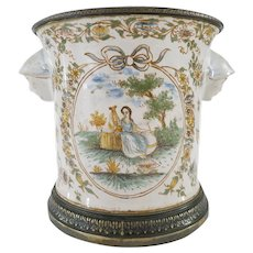 French 19th C. Silver Mounted Faience Cache Pot Vase