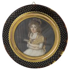 18th C. German Miniature Portrait, Original Gold Pique Frame