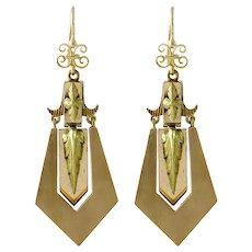 Victorian 14K Rose & Yellow Gold Long Pierced Earrings