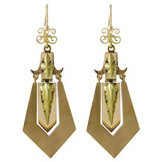 Victorian 14K Rose & Yellow Gold Long Pierced Earrings