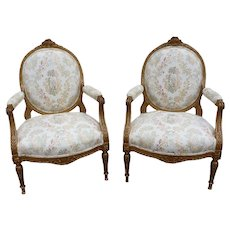 19th Century French Louis XVI Style Carved Gilt Bergeres