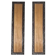 Pair Of Chinese Floral Carved Hardwood Frames