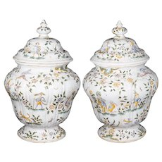 Pair 19th C. French Faience Covered Urns