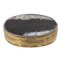 Victorian Brass & Agate Snuff Trinket Box