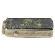Silver & Moss Agate Victorian Matchsafe