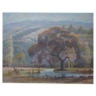 Everett H. Sloane Oil on Canvas, Landscape Trees & Mountains