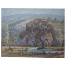 Everett H. Sloan Oil on Canvas, Landscape Trees & Mountains