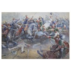 C. Clark French Battle Scene, Battle of Dettingen Watercolor